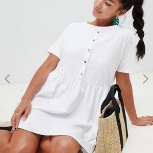 ASOS Petite white smock dress US 8